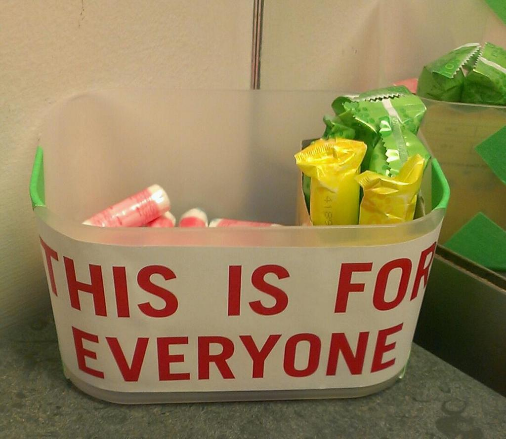 Box of tampons in the GDS toilet